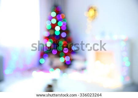 Christmas tree with defocused lights - stock photo