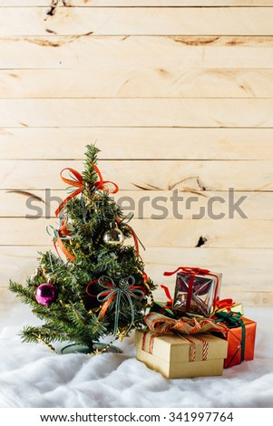 Christmas tree with gifts - stock photo