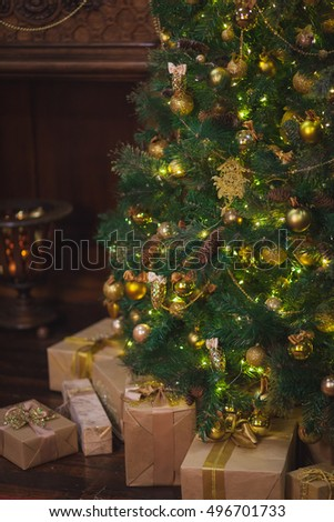 Christmas tree with gifts. Home Decor in Christmas