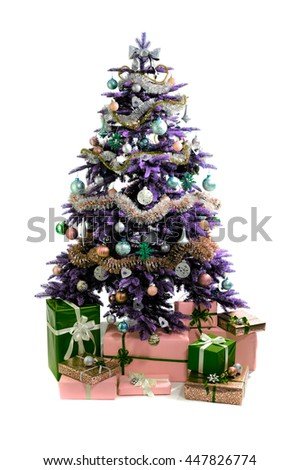 christmas tree with gifts isolated on white background - stock photo