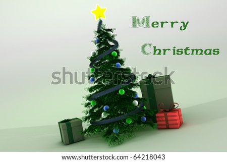 Christmas tree with gifts on white background with beautiful wish