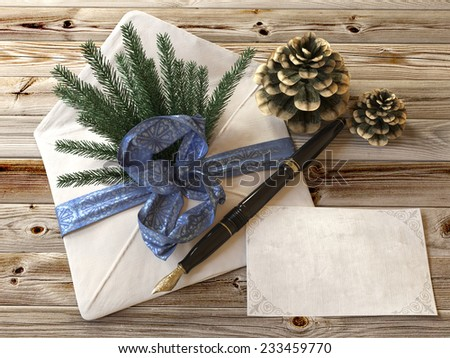 Christmas tree with gifts,pen and letter greetings card holiday concept - stock photo