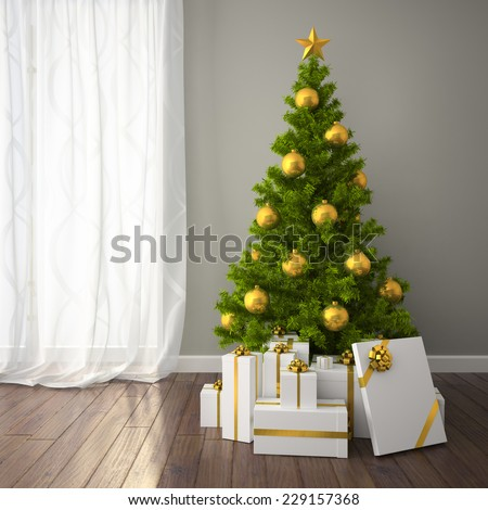 Christmas tree with gold decor in classic style room with dark floor. 3D interior rendering - stock photo