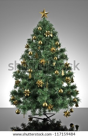 Christmas tree with grey stage and reflective ground - stock photo