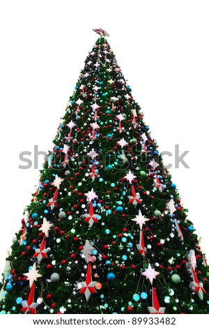 Christmas tree with heap of red gift boxes decorated. isolated on white background - stock photo