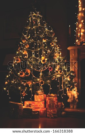 Christmas tree with lights - stock photo