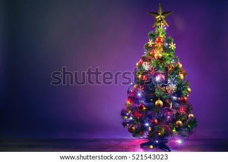 christmas tree with lights garland - Purple Christmas Tree Lights