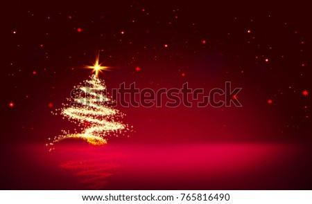 Christmas tree with lights isolated on red star sky background.