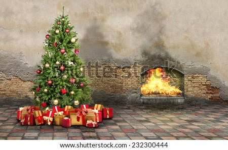 Christmas tree with many presents and a fireplace - stock photo