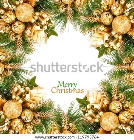 Christmas tree with ornaments. frame - stock photo