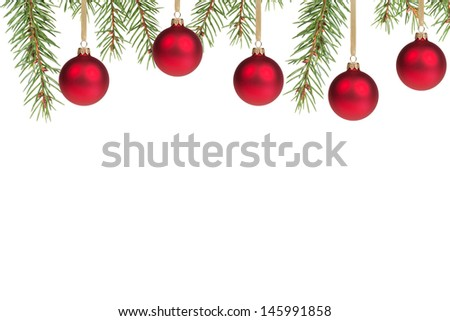christmas tree with red balls, with white copy space - stock photo