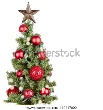 Christmas tree with red ornaments and star, isolated on white - stock photo
