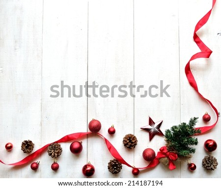 Christmas tree with red ribbon - stock photo