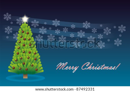 Christmas tree with star and decoration in dark blue - stock photo