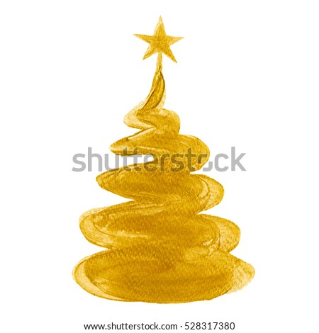 christmas tree with star gold color christmas tree watercolor hand painted isolated on white background - Christmas Tree Star