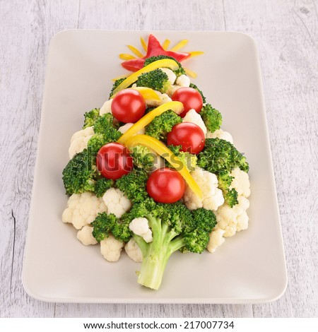 christmas tree with vegetables - stock photo