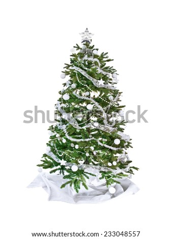 Christmas tree with white decorations, isolated on white background
