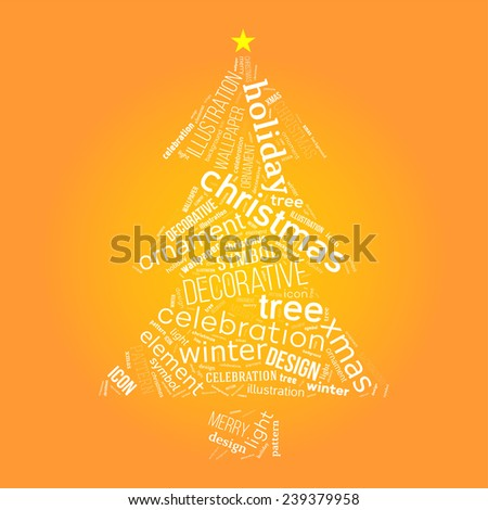 Christmas tree with words collage on yellow background