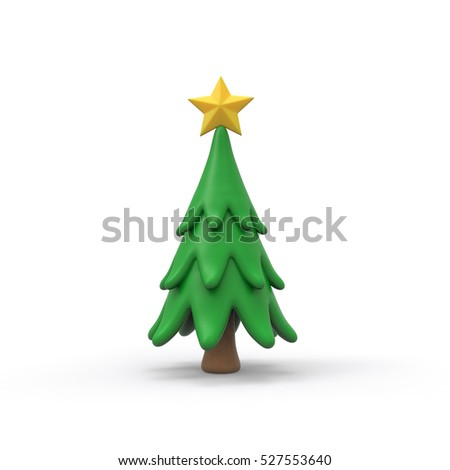 Christmas tree with yellow star 3d rendering isolated on white background