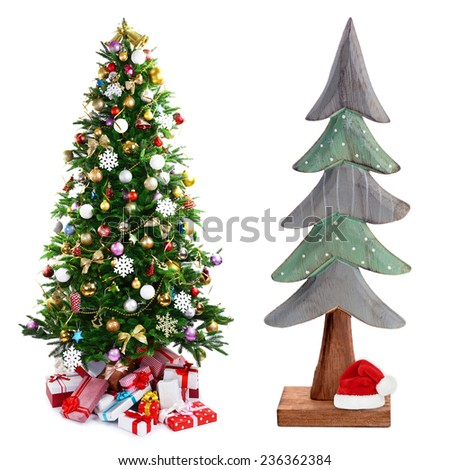Christmas trees collage - stock photo