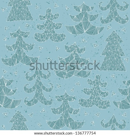 Christmas Trees Collection of different styles, seamless repeated grunge pattern in blue with white stokes. (for vector see image 118118035) - stock photo