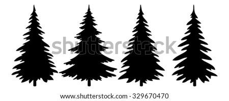 Christmas Trees Set, Black Pictogram Isolated on White Background, Winter Holiday Symbols.  - stock photo