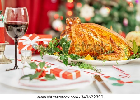 Christmas turkey dinner table