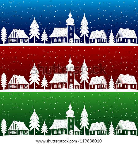 Christmas village with church seamless pattern - hand drawn illustration