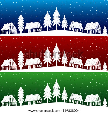 Christmas village with snow seamless pattern - hand drawn illustration
