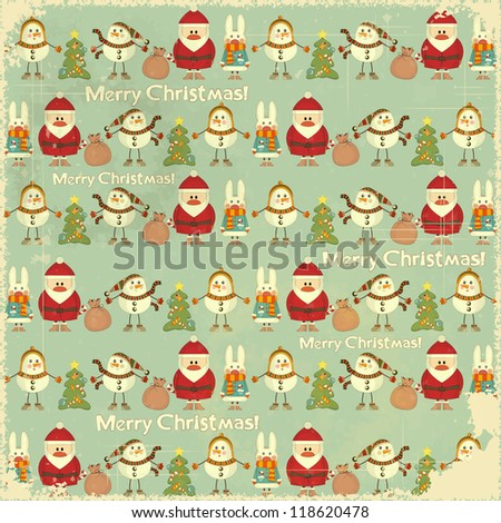 Christmas Vintage background. Signs of Christmas: Santa Claus, snowman, white rabbit and Christmas tree on retro blue background. JPEG version - stock photo