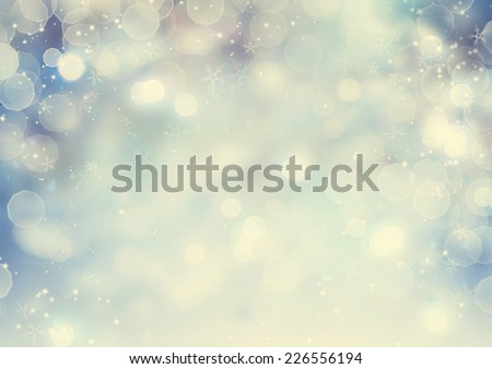Christmas Vintage Background. Winter Holiday Snow Blue old styled Background with snowflakes and stars. Christmas Abstract Defocused Blurred Glowing Backdrop. Elegant Bokeh - stock photo