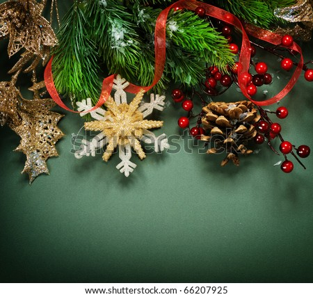 Christmas Vintage decoration border design - stock photo