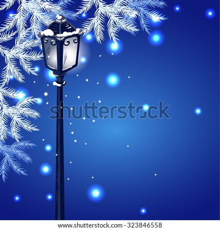 Christmas vintage streetlamp on the evening landscape background and fur tree - stock photo