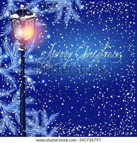 Christmas vintage streetlamp on the evening landscape background and fur tree
