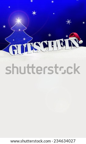 Christmas voucher Gutschein card tree snow