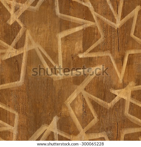 Christmas wallpaper with stars - seamless background - wood surface - stock photo