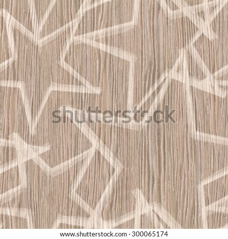 Christmas wallpaper with stars - seamless background - wood texture - stock photo