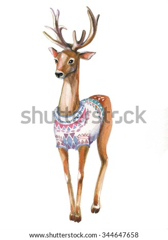 christmas watercolor deer - stock photo