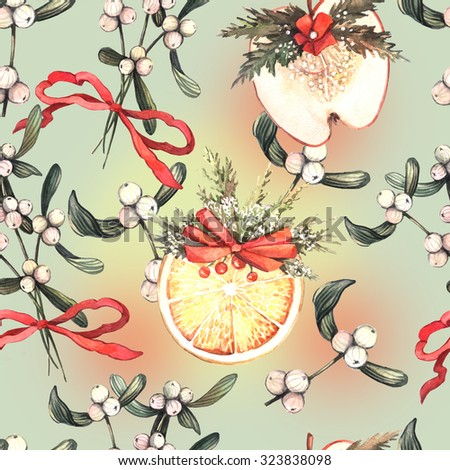 Christmas watercolor seamless with mistletoe branches and dried fruit. Seamless pattern for fabric, paper and other printing and web projects.