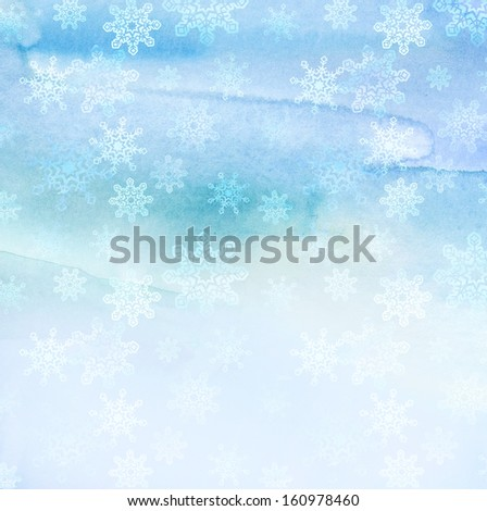 Christmas watercolor snowflakes background - stock photo
