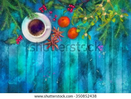 Christmas watercolor top view background. Cup of coffee, fir tree branches, star anise, orange, Holly and Mistletoe on wooden table - stock photo