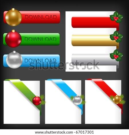 Christmas Web Elements, Isolated On Black Background - stock photo