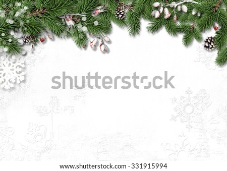 Christmas white background with decorations, holly and branches - stock photo
