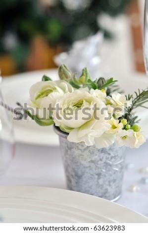 christmas white bouquet - stock photo