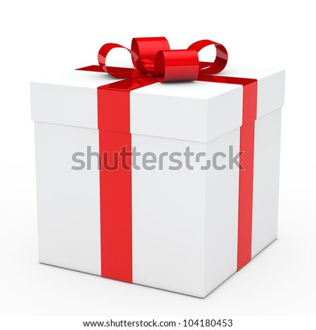 christmas white gift box with red ribbon