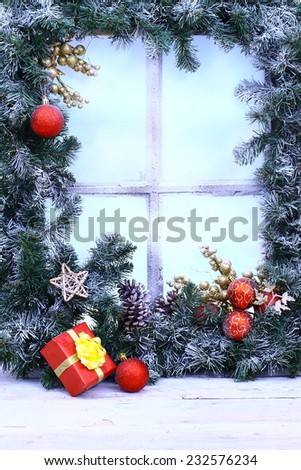 Christmas window decoration backgrounds - stock photo