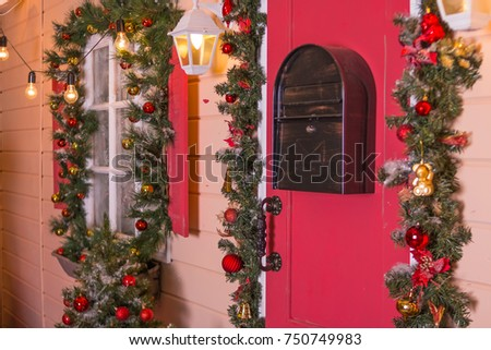christmas window decoration outside selective focus merry christmas and happy new year concept - Merry Christmas Window Decorations