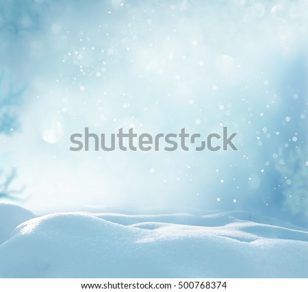 Christmas winter background with snow and blurred bokeh.Merry christmas and happy new year greeting card with copy-space.