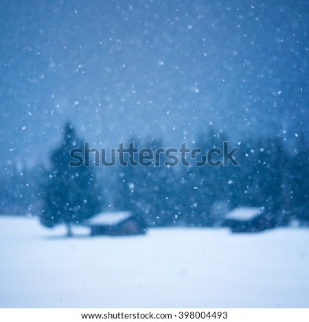 Christmas winter background with tree and small hut