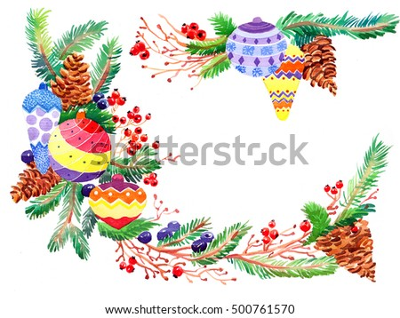 Christmas winter branch watercolor made by hand drawn  isolated on the white background